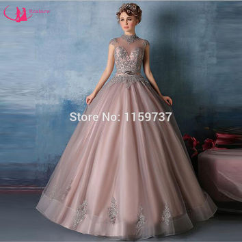 Customized High Neck Quinceanera Dress Attractive Dresses With Appliques Corset Back Cap Sleeve Ball Gown New Fashion Style