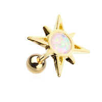Golden Opal Sunburst Cartilage Tragus Helix  Earring 18ga Body Jewelry