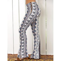 High Waist Tribal Geometric Print Flare Pants