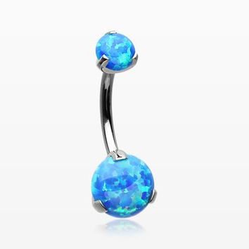 Implant Grade Titanium Internally Threaded Opal Prong Belly Button Ring