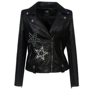 Embroidery Gothic  Faux Leather Jacket