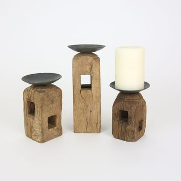 Set of 3 Square Wooden Furniture Leg Candle Holders