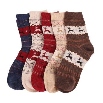 New Christmas Gift Snowflake Deer Women Wool Socks Warm Winter Sock Filler Xmas Gift Hot