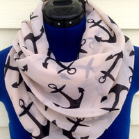 Anchor infinity scarf - beige and black anchor print scarf - boho - women - teens - loop scarf