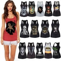 Hot Selling 2014 New Fashion Women Vest Sexy Racer Back Camisole T-shirt