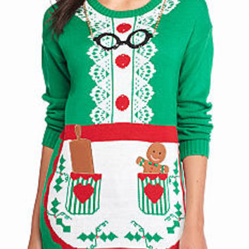 New Directions® Mrs. Claus Apron Holiday Tunic Sweater