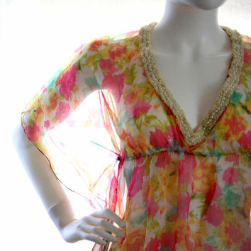 short kaftan kaftan dress floral kaftan sheer top , beach cover up tunic fuchsia looks vintage chic feminine top caftan mini day dress