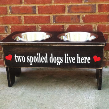 "Distressed Personalized Dog Feeder -15""' Tall - Two 2 Quart Bowls"