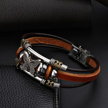 Butterfly Bracelets Hand Made Braided buckle Fashion Style Popular Charm Leather Bracelets Bangles for Men Women