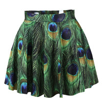 Green Peacock Inspired Print Skater Skirt