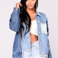 Hypnotized Patch Denim Jacket - Medium Wash