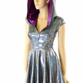 Silver Holographic Hoodie Skater Dress with Cap Sleeves, Fuchsia Sparkly Jewel Hood Liner & Front Zipper 152193