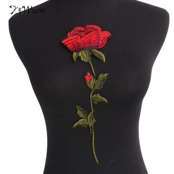 PEAP78W Top Quality Rose Flower Patches Iron on Red Embroidered Patch Motif Applique Women DIY Stickers For Jacket Clothes Jeans