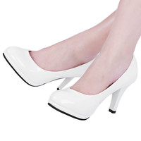 Brief Elegant Ladies Spring Summer Pumps Classic Solid Color Shallow Mouth Round Toe Patent Leather Shoes Thick High Heel Shoes
