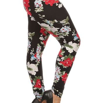 Plus Size Night Rose Floral Print Leggings