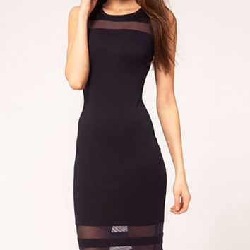 Backless Striped Mesh Accent Bodycon Midi Dress