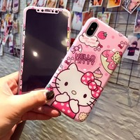 """For iphone X Kitty phone Cases Cover + Tempered Glass Screen Protector Flim for Apple iPhone X 5.8"""" Cartoon Hello kitty Fudas"""