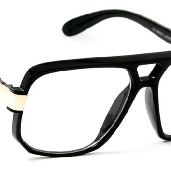 Men Retro Aviator Glasses Knight Style Metal Accent Frame Clear Lens