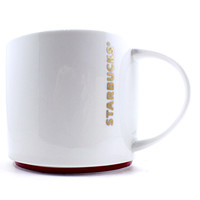 Starbucks Coffee Mug 2012 Gold Text White Red Ring 16oz Holiday Cup k473