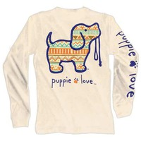 Aztec Pup Long Sleeve Tee in Sand by Puppie Love - FINAL SALE