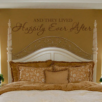 And They Lived Happily Ever After - Vinyl Wall Decal Quote Lettering Decor - Romantic Bedroom Wall Art 10H x 48W LO003