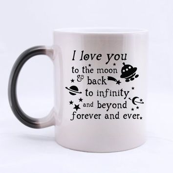Romantic Valentine's Day Gift - 11 Ounces Funny Quotes Saying Mug - I Love You To the Moon And Back Color Changing Mug Coffee Te