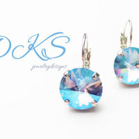 LIght Sapphire Shimmer, Swarovski 12mm Lever Back Earrings, Blue, Drops, Rhodium, Everyday, DKSJewelrydesigns, FREE SHIPPING