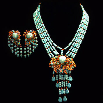 Vintage Runway Haute Couture Jewelry Set Miriam Haskell Gilt Necklace & Earrings Aqua / Blue Turquoise Czech Glass Designer Jewelry 1930s