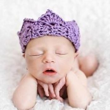 New 6 Colors Arrival Baby Girl Boy Crochet Knit Prince Crown Headband Hats Hair Accessories [7943206535]
