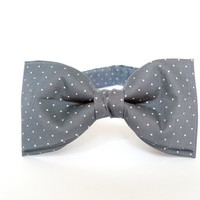 Mens bow tie by Bartek Design - groom wedding classic retro necktie chic handmade gift for him pre tied - gray polka dot