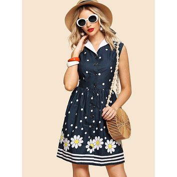 Navy Contrast Collar Button Through Fit And Flare Dress