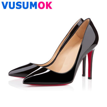 2015 Brand Red Sole Women Pumps Shoes Red Bottom High Heels 11CM Pointed Toe Wedding Shoes Sapatos Femininos