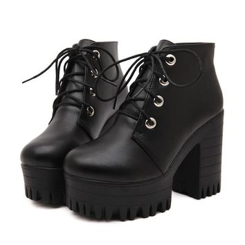 Designers New Spring Autumn Women Shoes Black High Heels Boots Lacing Platform Ankle Boots Chunky