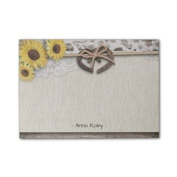 Rustic Horseshoes Burlap Lace Sunflowers Wedding Post-it Notes