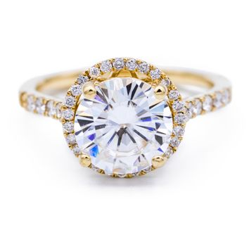 9mm Round Moissanite 14K Yellow Gold Micro Pave Halo Filigree Engagement Ring