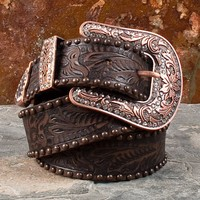 Antique Studded Brown Floral Belt with Copper Colored Buckle - Women's