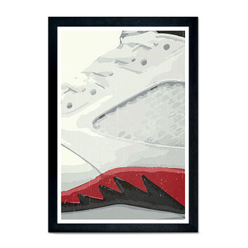 "Air Jordan 5 (V) original sneaker poster illustration, wall decor, contemporary art, sneakerheads, 11""x17"""