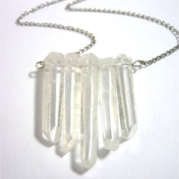 Clear Crystal Quartz Points Arrow Shield Statement Necklace - extra long silver chain by AstralEYE