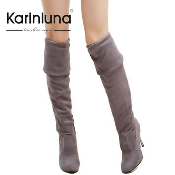 Big Size 34-43 High Heels Women Boots Over the Knee High Boots Party Sexy Lady Fashion Winter Woman Shoes 2016 New