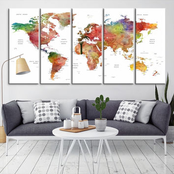 24353 - Large Wall Art World Map Canvas Print- Custom World Map Push Pin Wall Art- Custom World Map Canvas Poster Print- Personalized Wall Art