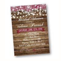 Rustic Bridal Shower Invitation wood and lace with string of lights printed or printable option deep plum burgundy magenta burgundy invite