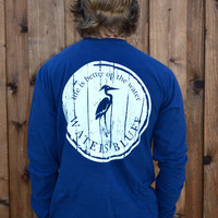Waters Bluff Woodgrain Long Sleeve Tee- Navy