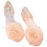 Sandals Peep-toe Bowknot Beach Jelly Shoes Flower  golden shoes golden flower