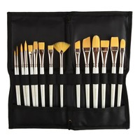 15 Piece Art Paint Brush Set & FREE Organizer - Perfect Collection of Shapes and Sizes - Acrylic, Watercolor, Oil - Even Facepainting! - The Best Set for Kids, Art Students, Amateur and Professional Artists - Lifetime Replacement Guarantee - By Montebello