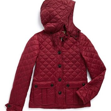 Girl's Burberry 'Tiggsmore' Diamond Quilted Jacket,