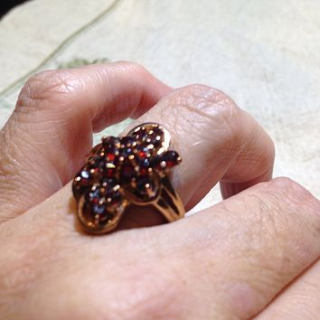 Vintage Bohemian Garnet 925 Sterling Silver Antiqued Rose Gold Finish Ring