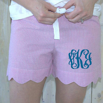 Seersucker Scalloped Shorts
