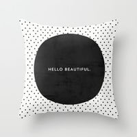 BLACK HELLO BEAUTIFUL - POLKA DOTS Throw Pillow by Allyson Johnson