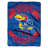 "Kansas Jayhawks 60""x80"" Royal Plush Raschel Throw Blanket - Rebel Design"