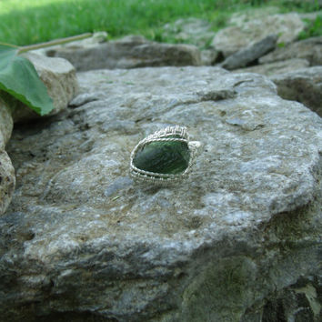 Wire Wrap Ring Green Moldavite Stone 925 Sterling Silver Size 8.5 Handmade Heady Jewelry